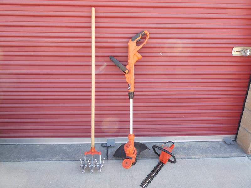 """Lot # 30- Black + Decker 14"""" electric grass whip, Hedge Trimmer- McGraw-Edison, Garden weasel tool (main image)"""