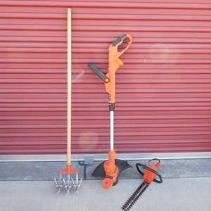 "Lot # 30- Black + Decker 14"" electric grass whip, Hedge Trimmer- McGraw-Edison, Garden weasel tool"