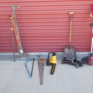 """Lot # 31-Craftsman grass whip (electric), Shovel, saws, jacks, McCalloch electric chain saw 10"""""""