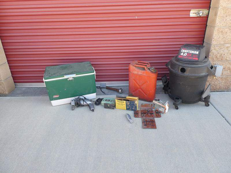 Lot # 32-Craftmaster 4.0 Shop-vac, vintage gas can, vintage tools, craftsman sander, electric drill, and cooler (main image)