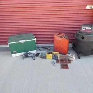 Lot # 32-Craftmaster 4.0 Shop-vac, vintage gas can, vintage tools, craftsman sander, electric drill, and cooler