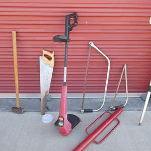 """Lot # 33-Toro 12"""" Grass whip, Mr. Long arm extension pole, 3 saws, sledge hammer, post hole driver"""