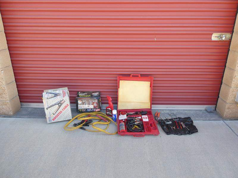 Lot # 36-Car lot: 3 sets of jumper cables, auto mini truck kit, misc. tools, air condition test kit (main image)