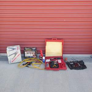 Lot # 36-Car lot: 3 sets of jumper cables, auto mini truck kit, misc. tools, air condition test kit