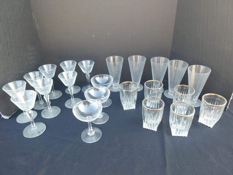 Lot # 38-Assorted glasses- champagne glasses, tumbler glasses, dessert glasses (main image)