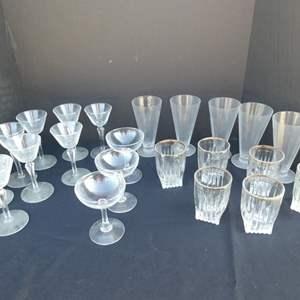 Lot # 38-Assorted glasses- champagne glasses, tumbler glasses, dessert glasses