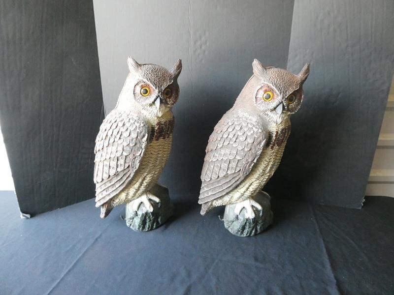 "Lot # 40-Two yard owls- 20"" tall- Keep away those pesky birds! (main image)"