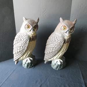 "Lot # 40-Two yard owls- 20"" tall- Keep away those pesky birds!"