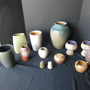 """Lot # 41-Beautiful pottery collection- Assorted- some """"Stanford"""", 2 candle holders, made in Italy"""