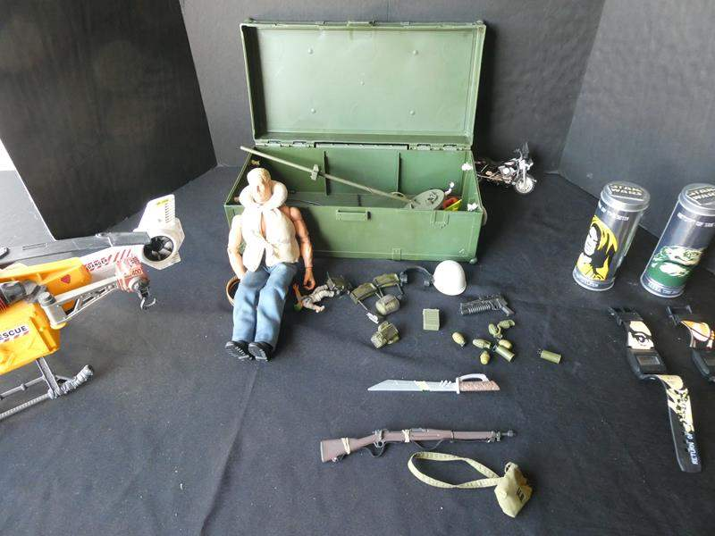 """Lot # 42-""""GI Joe"""" with case and accessories with additional treasures (main image)"""