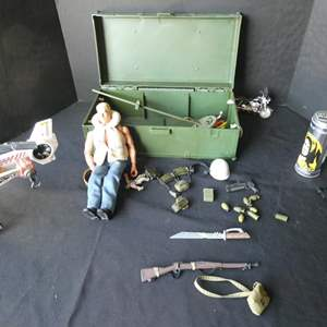 """Lot # 42-""""GI Joe"""" with case and accessories with additional treasures"""