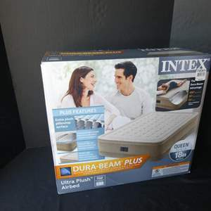 """Lot # 43-""""Intex"""" New in box inflatable air bed- queen size with built in pump"""