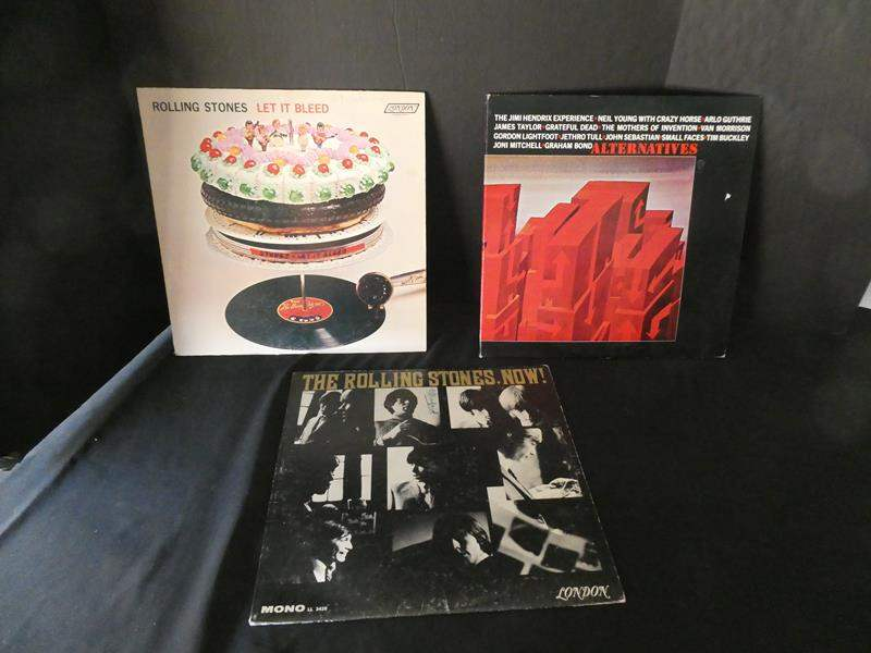 """Lot # 49-Three """"Rolling Stones"""" Collectors vinyl albums: """"Let it Bleed"""", """"Now"""", """"Alternatives"""" (main image)"""