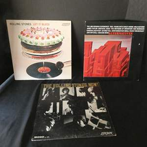 "Lot # 49-Three ""Rolling Stones"" Collectors vinyl albums: ""Let it Bleed"", ""Now"", ""Alternatives"""