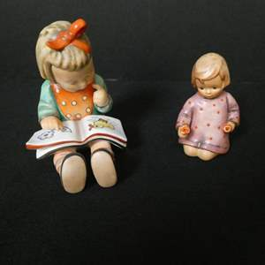"""Auction Thumbnail for: Lot # 11- Rare vintage, Goebel Hummel, """"Girl Bookworm"""" and """"One for you one for me"""""""