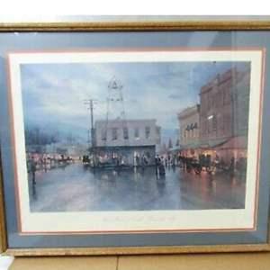 "Auction Thumbnail for: Lot # 1-Thomas Kinkade Print, Signed, ""Main Street as dusk"" 1916"
