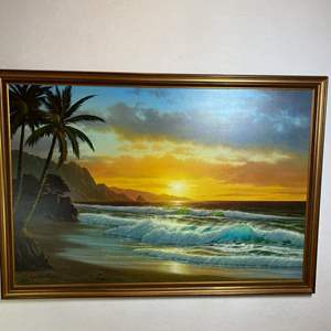 """Auction Thumbnail for: Lot # 3- Extra large, Beautiful beach Original Anthony Casay painting, signed, Extra Large 64.5"""" by 46""""- see all pictures"""