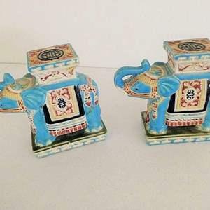 "Auction Thumbnail for: Lot # 112-2 Vintage, decorative, ceramic elephants, ""made in Vietnam"""