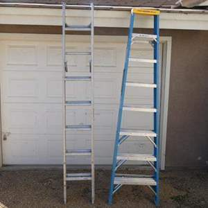 Auction Thumbnail for: Lot # 137- Two ladders: 1 aluminum 6 ft., 1 Werner, fiberglass 8 ft. ladder