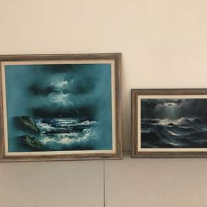 Auction Thumbnail for: Lot # 144- Two beautiful ocean original oil on canvas paintings: B. Cooper