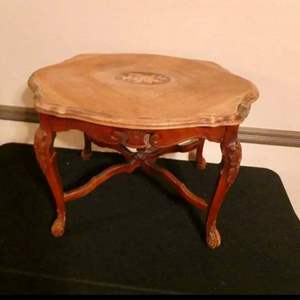 Auction Thumbnail for: Lot # 164- Vintage wood end table with beautiful framed art