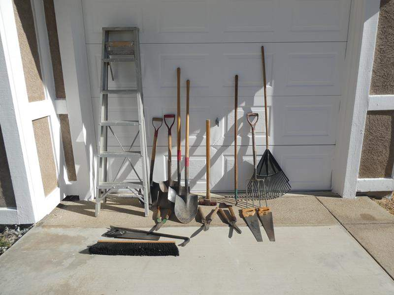 Lot # 115- Yard tools & more, with 6 Ft. ladder (main image)