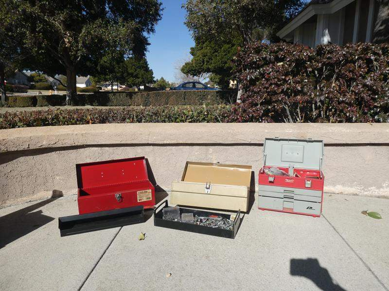 Lot # 122- 3 tool boxes: 2 metal, 1 Handi-box, 1 heavy plastic, Plano (main image)