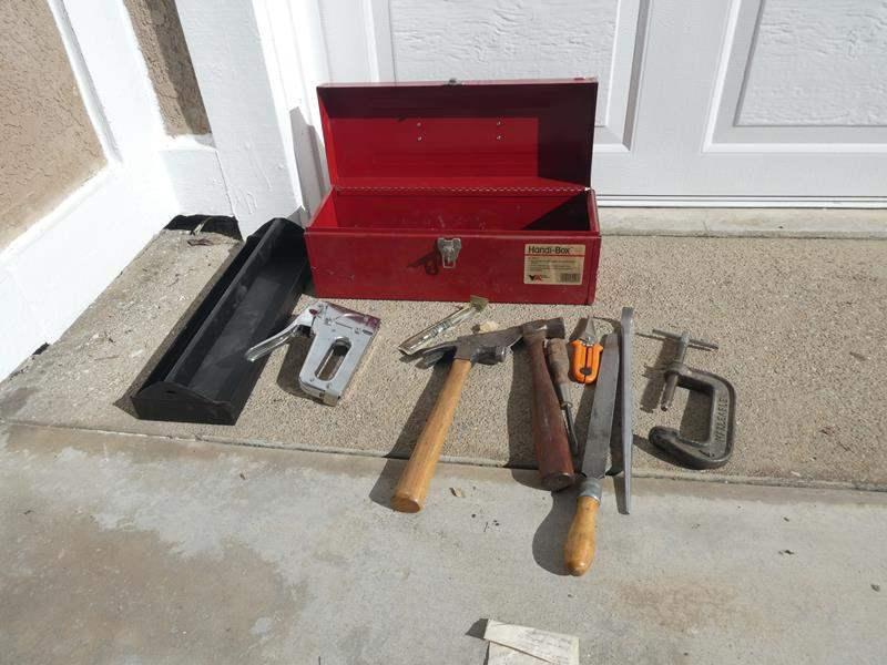 Lot # 128- Handi-Box, metal tool box with tools (main image)