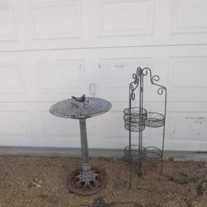 Auction Thumbnail for: Lot # 135- Aluminum bird bath and 3 tier outdoor potted plant