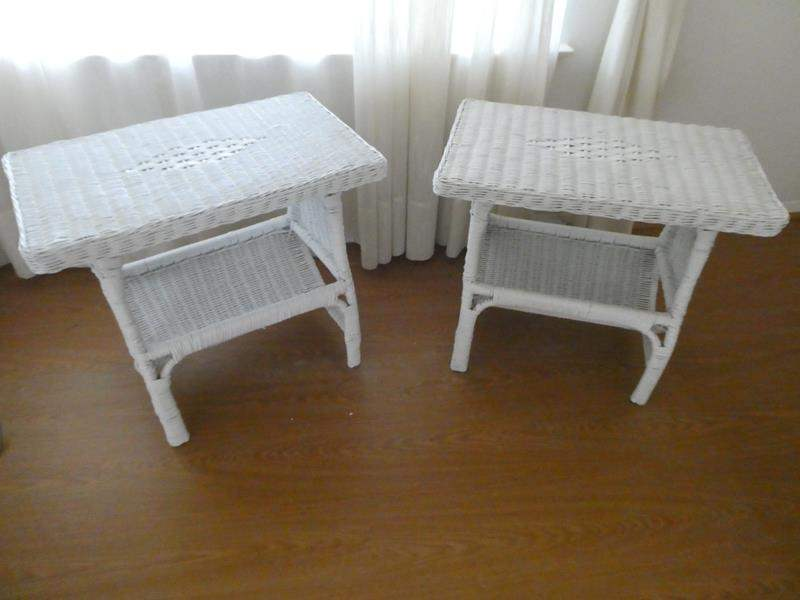 Lot # 146- Two stylish wicker night stands/ end tables (main image)