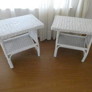 Auction Thumbnail for: Lot # 146- Two stylish wicker night stands/ end tables