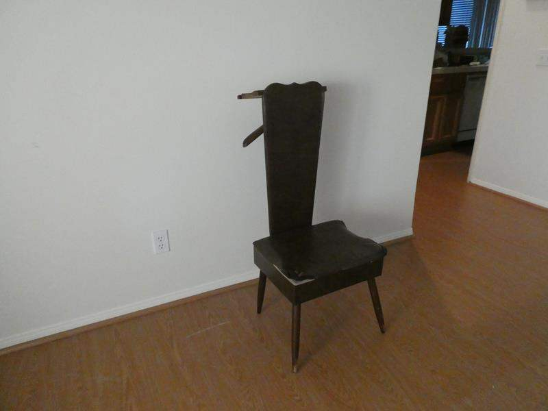 Lot # 148- Vintage mid century, modern set well MCM wood butler valet chair (main image)