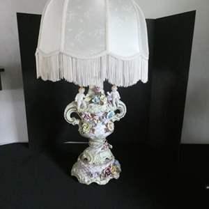 """Auction Thumbnail for: Lot # 152-Antique, """"Capodimonte""""  porcelain lamp"""