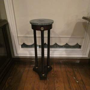 Auction Thumbnail for: Lot # 205- Beautiful Antique Marble Table and Wooden Plant Stand