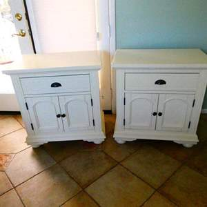 Lot #3- Matching set of two white nightstands