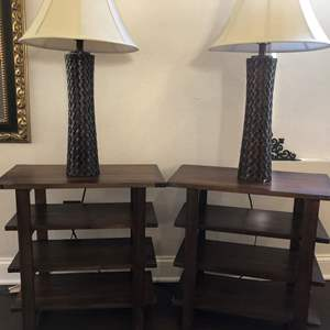 Lot #16- Set of two end tables with matching lamps