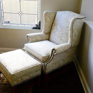 Lot #17- Beautiful Ethan Allen wingback chair with ottoman