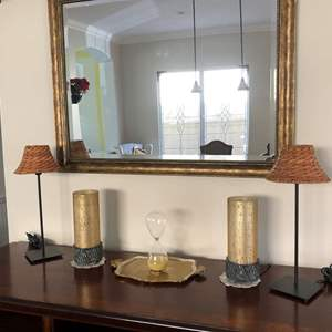 Lot #21- Large mirror, matching lamps and assorted smaller decor