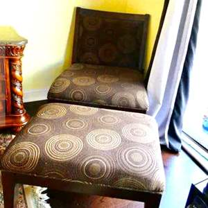 Lot # 53 -Over-sized chair with ottoman