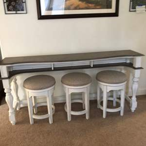 Lot # 164 - Counter dining table + barstools with distressed wood