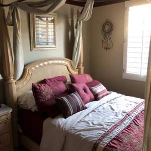 Lot # 172 - Queen luxury canopy bed with bedding, etc. included!