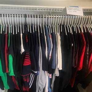 Lot # 180 - jujitsu karate uniform , pro force- size 6, and  Men's Tee shirts, workout shirts, sweatshirts, mostly size M/ L