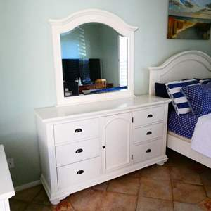 Lot #2- White vanity dresser and mirror
