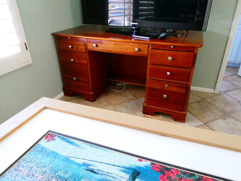 Lot #8- Wood desk and chair (main image)