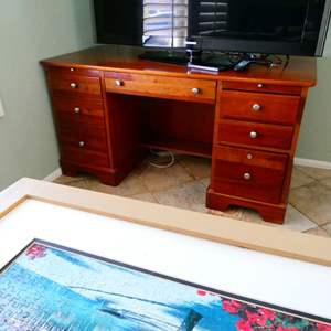 Lot #8- Wood desk and chair
