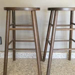 Lot # 106 - Set of 2 Wooden Stools