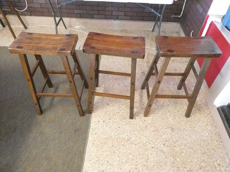 Lot # 107 - 3 Wooden Stools (main image)