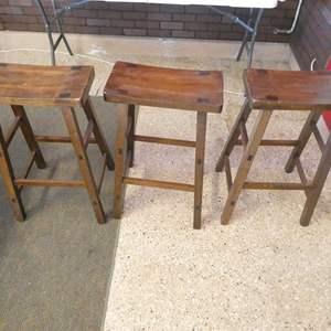 Lot # 107 - 3 Wooden Stools