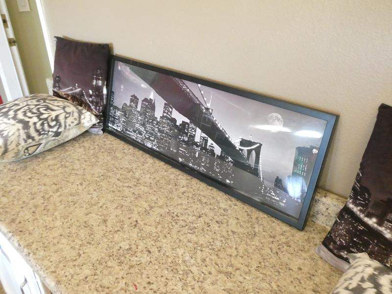 Lot # 109 - Framed Wall Art with Decor Pillows (main image)