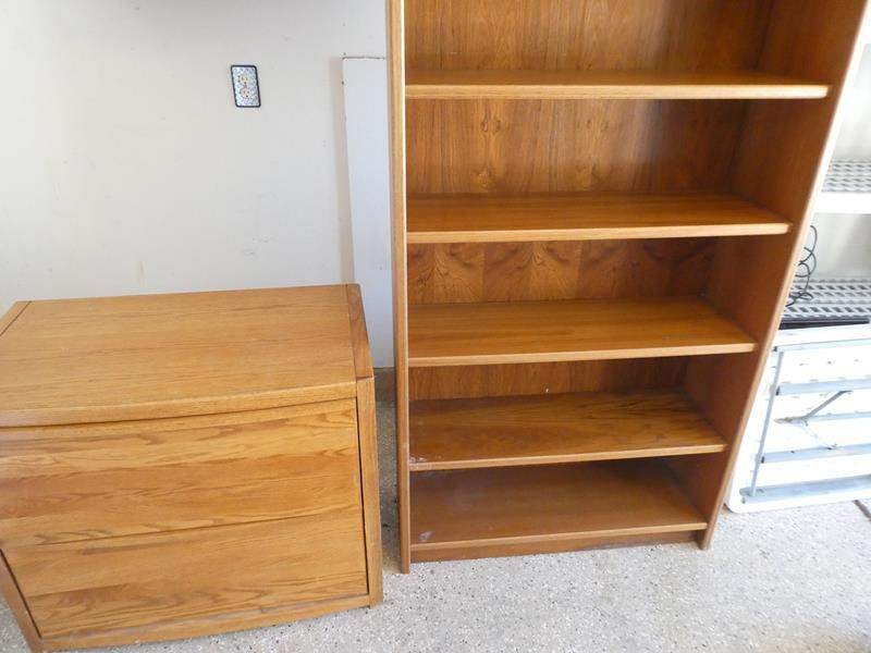 Lot # 119 - Wooden Bookshelf & Wooden File Cabinet (main image)